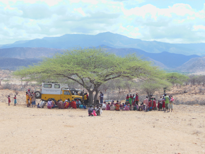 Mobile clinic under a tree in northern Kenya